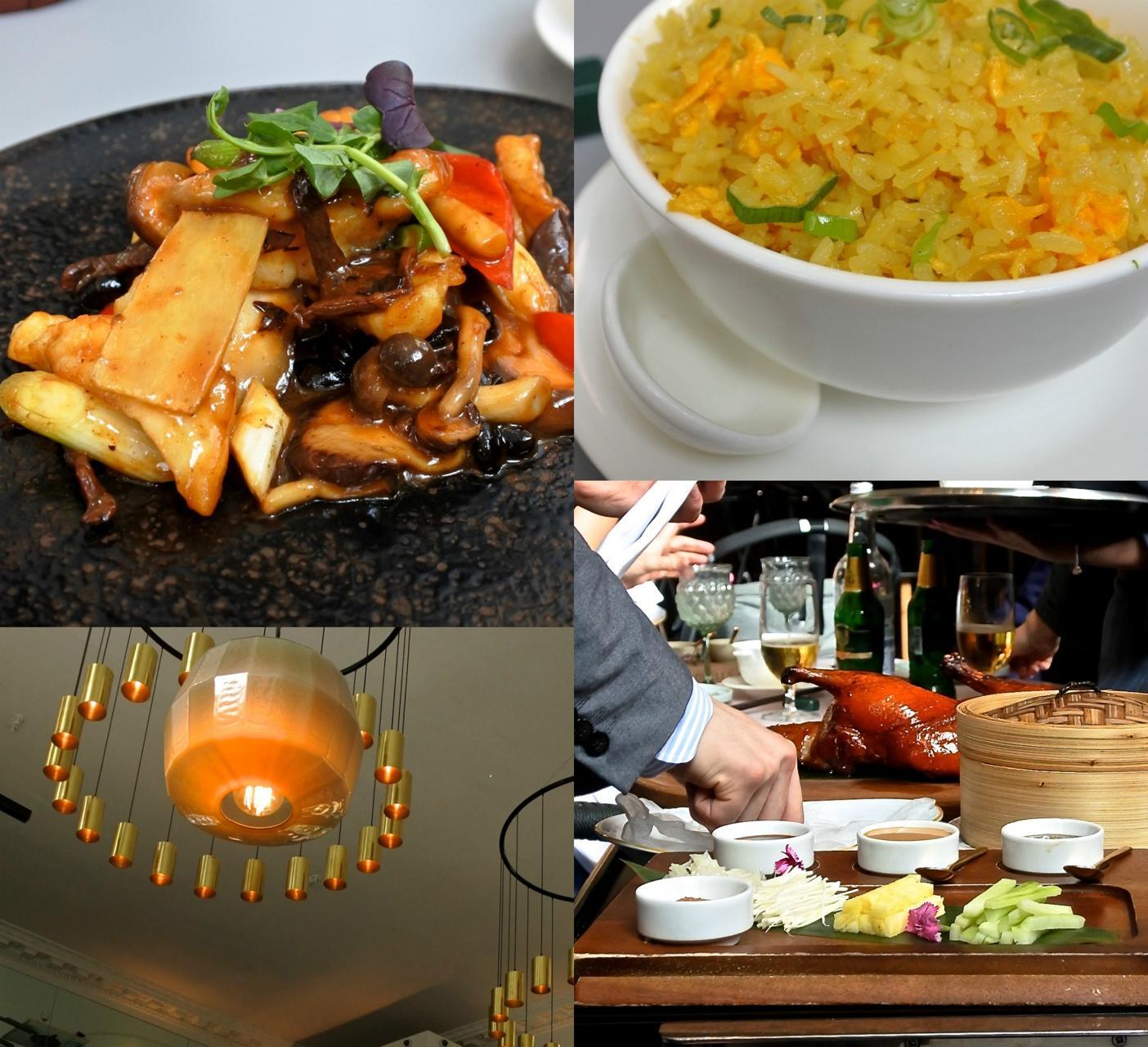 左上がアンコウ(モンクフィッシュ)と野菜の炒め物。右下はなんと、お隣さんが注文していた北京ダックを隣から激写!