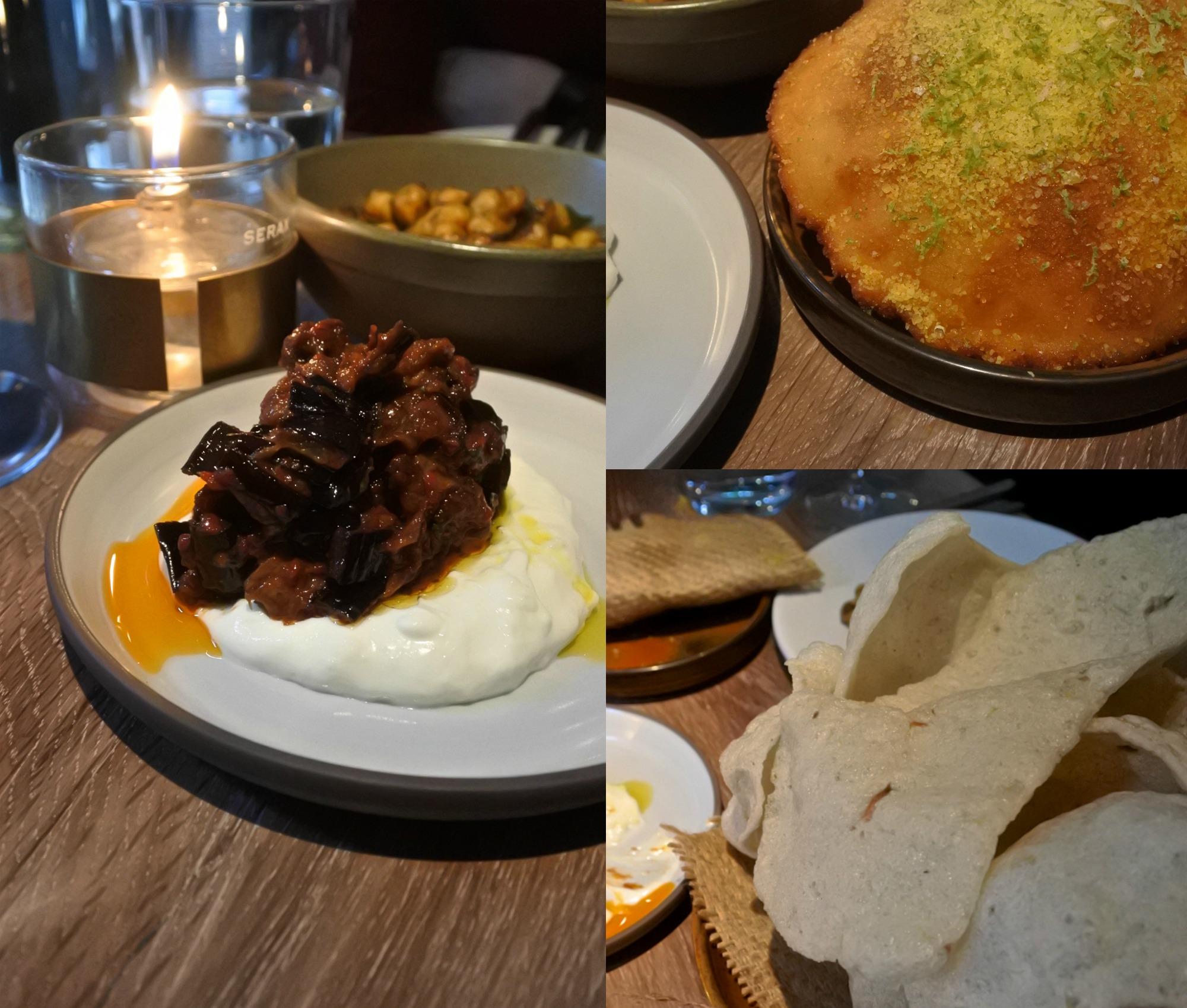 左がピリ辛サンバル風味のナス。インドネシア料理の影響が感じられます。右下が牛アキレス腱のパフ。とろけるような食感を楽しみます☆