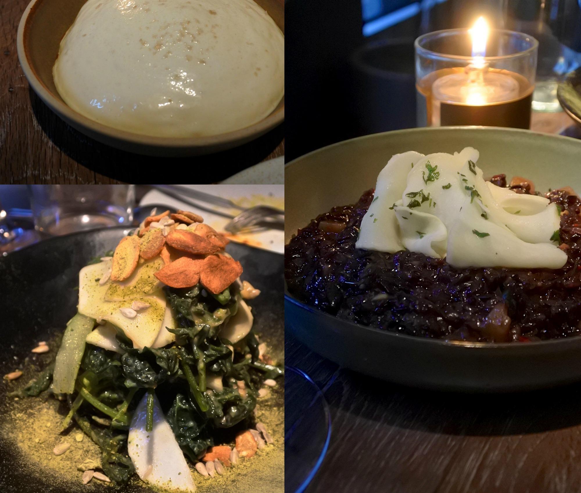右がブラックライス、左下が春菊のように楽しめた青菜の味噌ドレッシング。左上は牛パブ用のディップです!