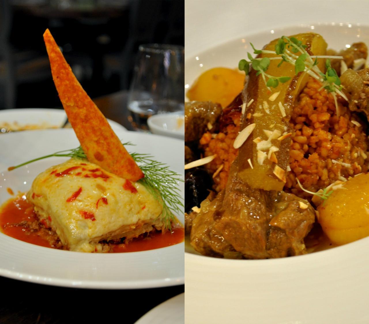 右がラムと野菜の煮込み。左は伝統のムサカ。遅れてきた人が一人で注文して食べたのでお味知らず。悪しからずww