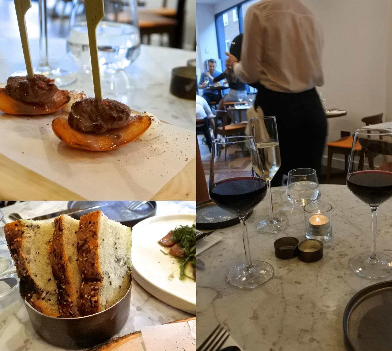 左上のカナッペは、ラム肉をグリルしたアプリコットにのせた一品で美味しいのだけど、1本のお値段は安くないです。左下の自家製パンも美味しい!