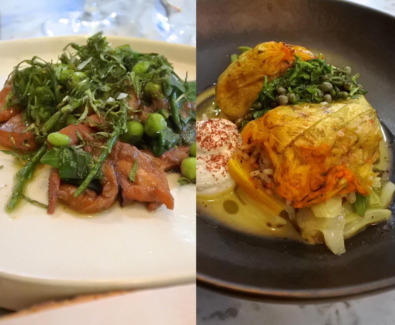 右がズッキーニのライス詰め、左がイカ料理。