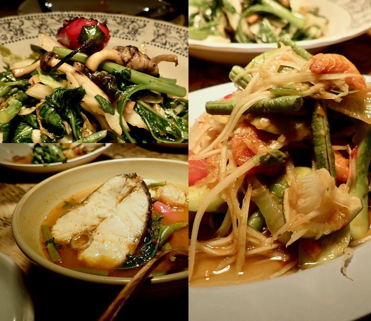左上から時計周りに、シーフードと野菜の炒め物(辛くなくてグッドw)、スペシャルにあったパパイヤ・サラダ、魚のカレー!