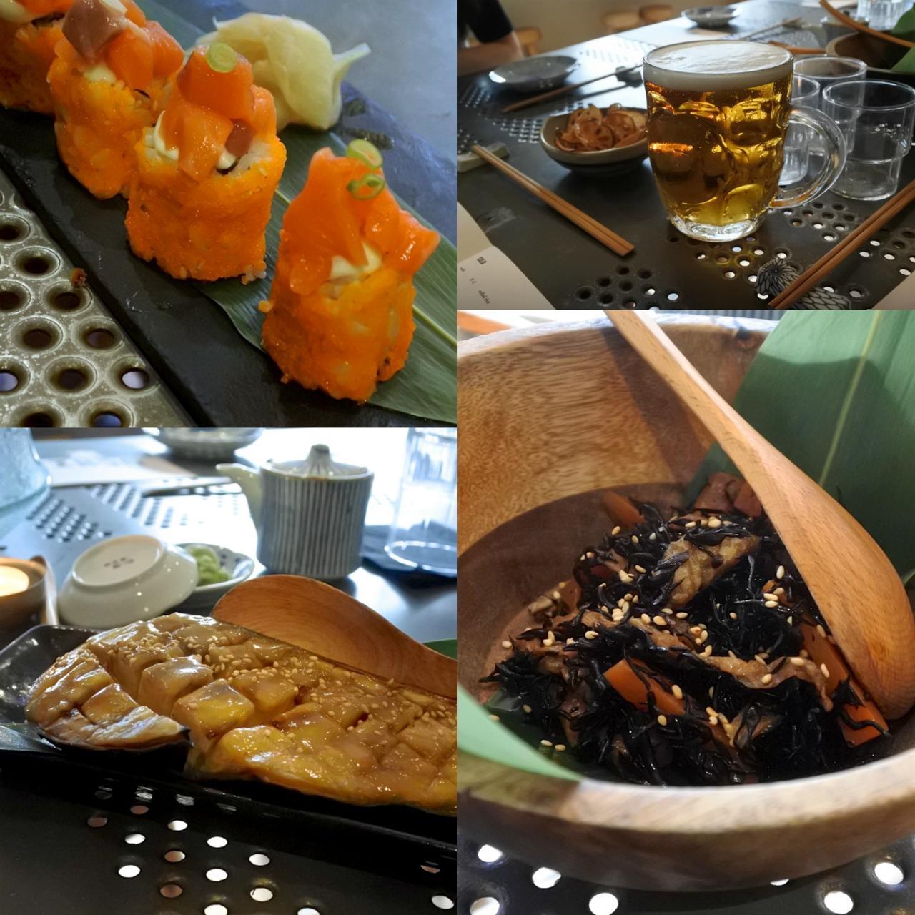 ここのヒジキは完璧!(右下)お寿司も茄子もぺろり。