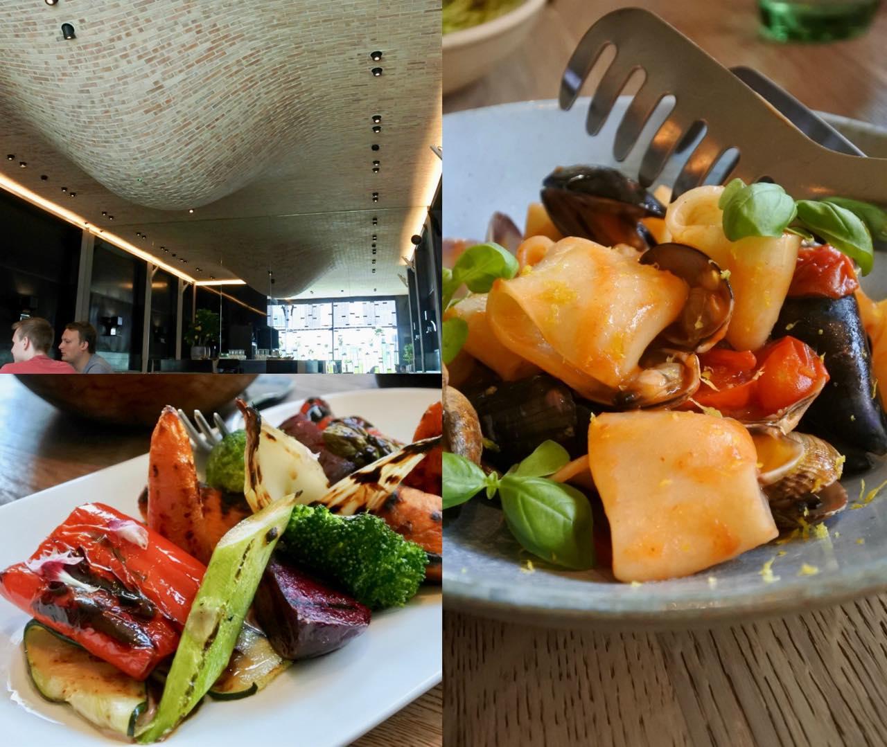 ショートパスタの魚介ソースは、味そのものはいいけれど、パスタが固くてソースが少ないので、パスタ本来の美味しさを味わいきれないデザイン。左はグリル野菜。