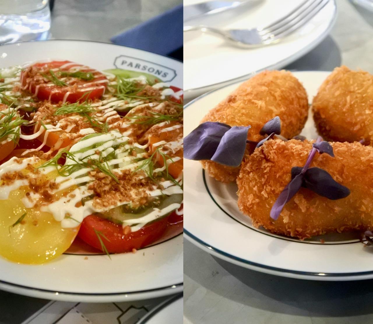 左が季節メニューのトマトのサラダ。オイスター・マヨと鰹節の風味が絶品。右が業界人が選ぶすっぷ・スナックの一つに選ばれたポテット・シュリンプのコロッケ!