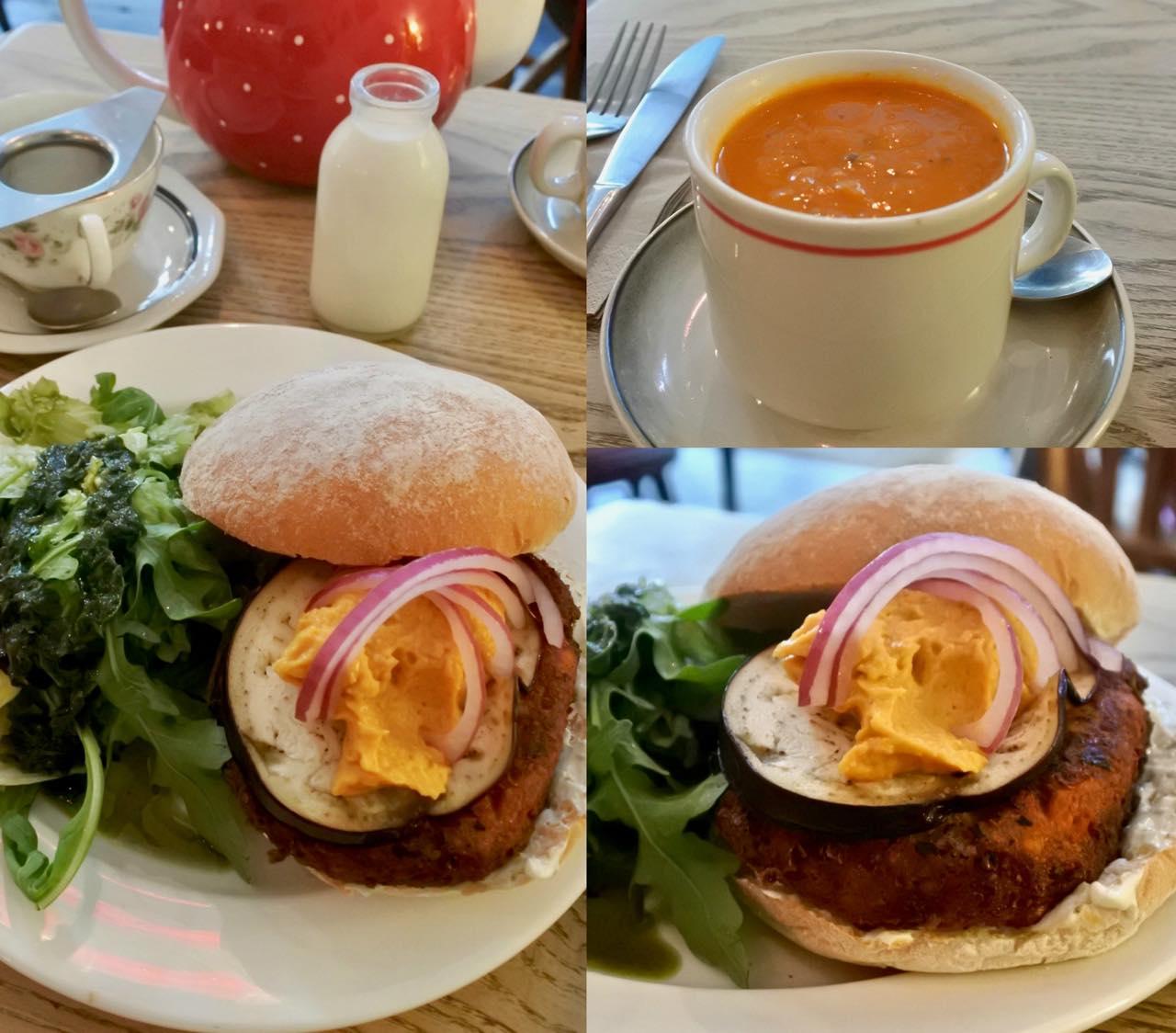 こちらが超オススメのファラフェルとナスのバーガー。ファラフェル団子が美味しい! カップ・スープ付きとドリンクが付いたお得なランチセットもあります♡