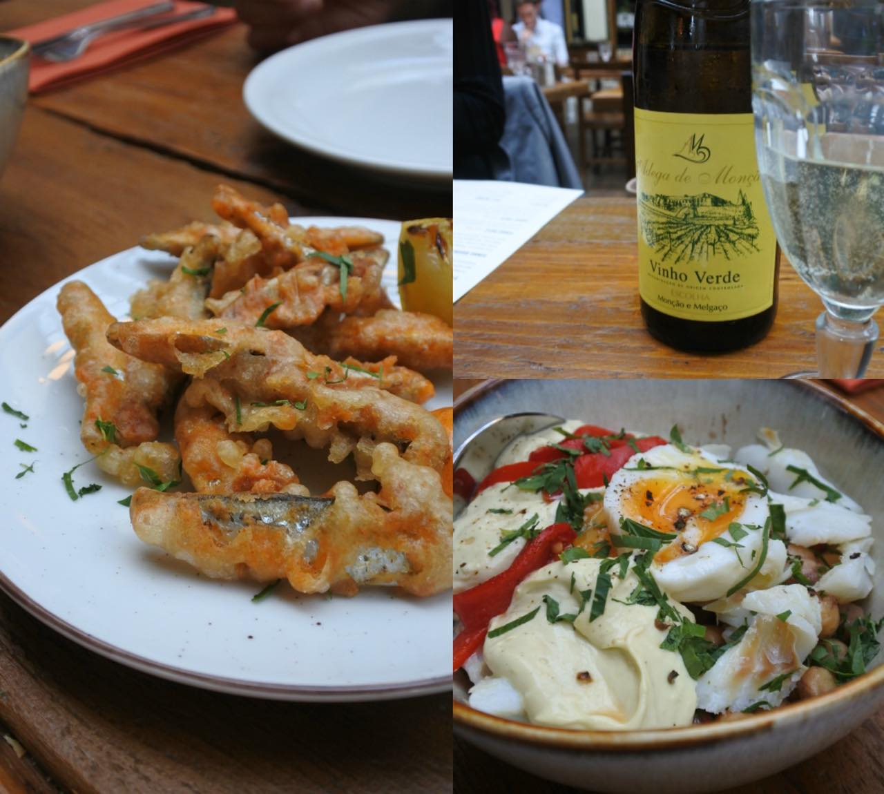 ホワイトベイツのフライ(左)と、塩鱈とひよこ豆のサラダ。右上がグリーン・ワイン! シュワっとした微発泡の喉越しが料理によく合う