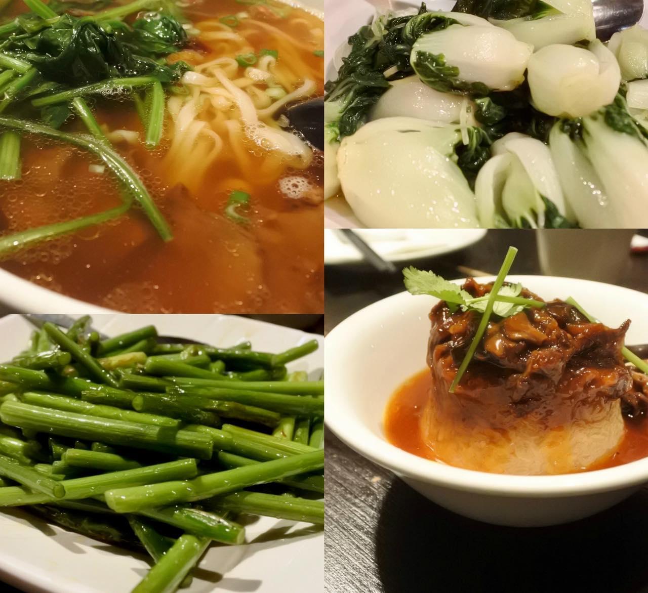 グリーンを頼むなら青梗菜のガーリック・ソース(右上)がおすすめ。空芯菜もいいかも。ニンニクの芽(左下)はオススメしません。右下は豚の煮込みライスですが、これとは別に豚バラ肉のライスがあります。左上がさっぱり美味しかったビーフ・ヌードル♪