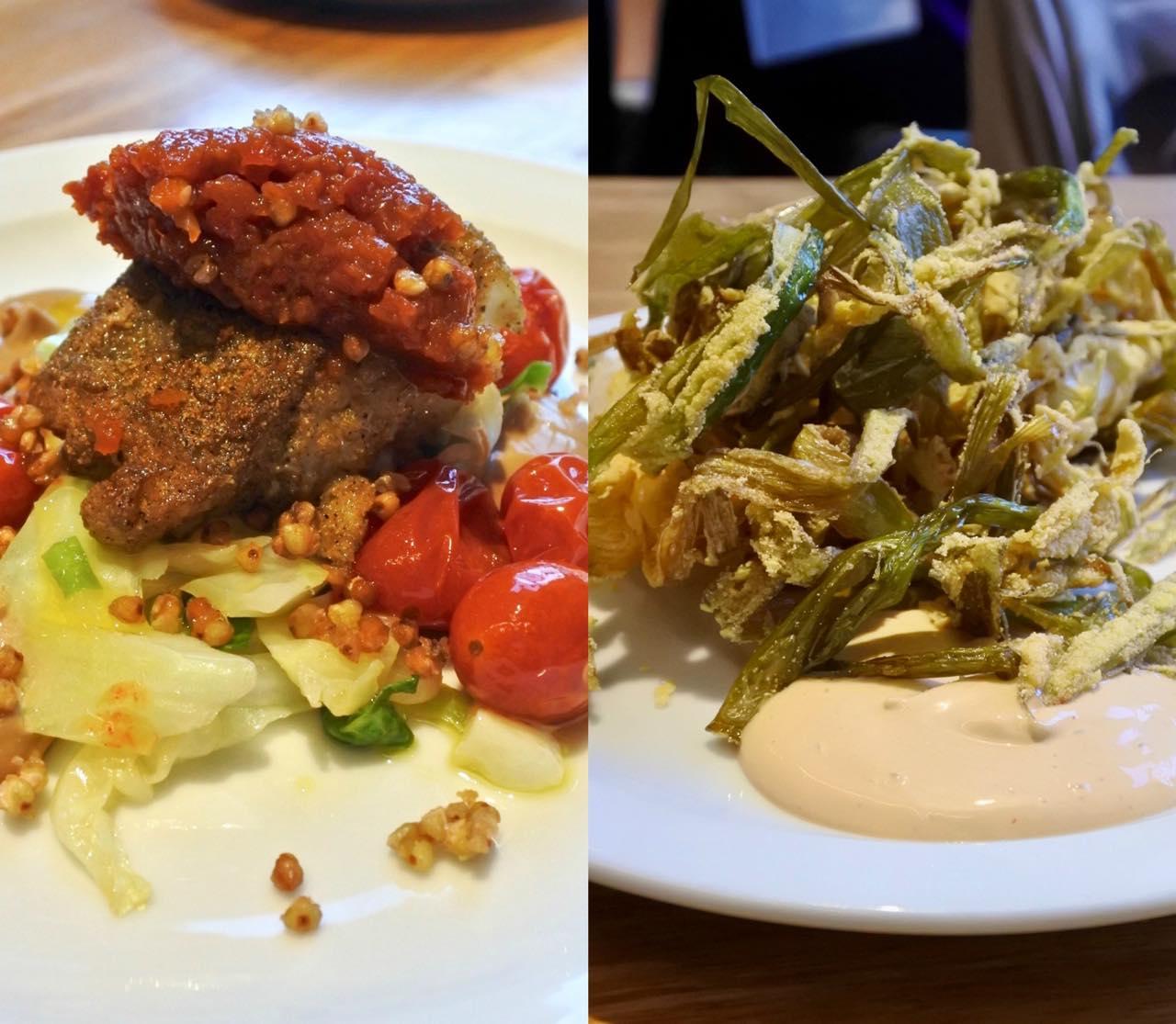 スプリング・オニオンにコーンミールをまぶして揚げた一品はここの名物の一つ。左は白身魚の料理。美味しいです!