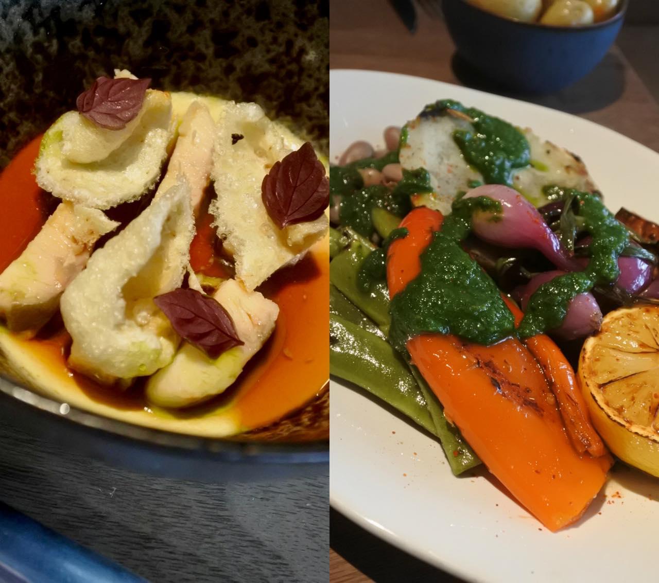 左が燻製ウナギとフォアグラ・カスタード。右がボリューミーな野菜プレート。