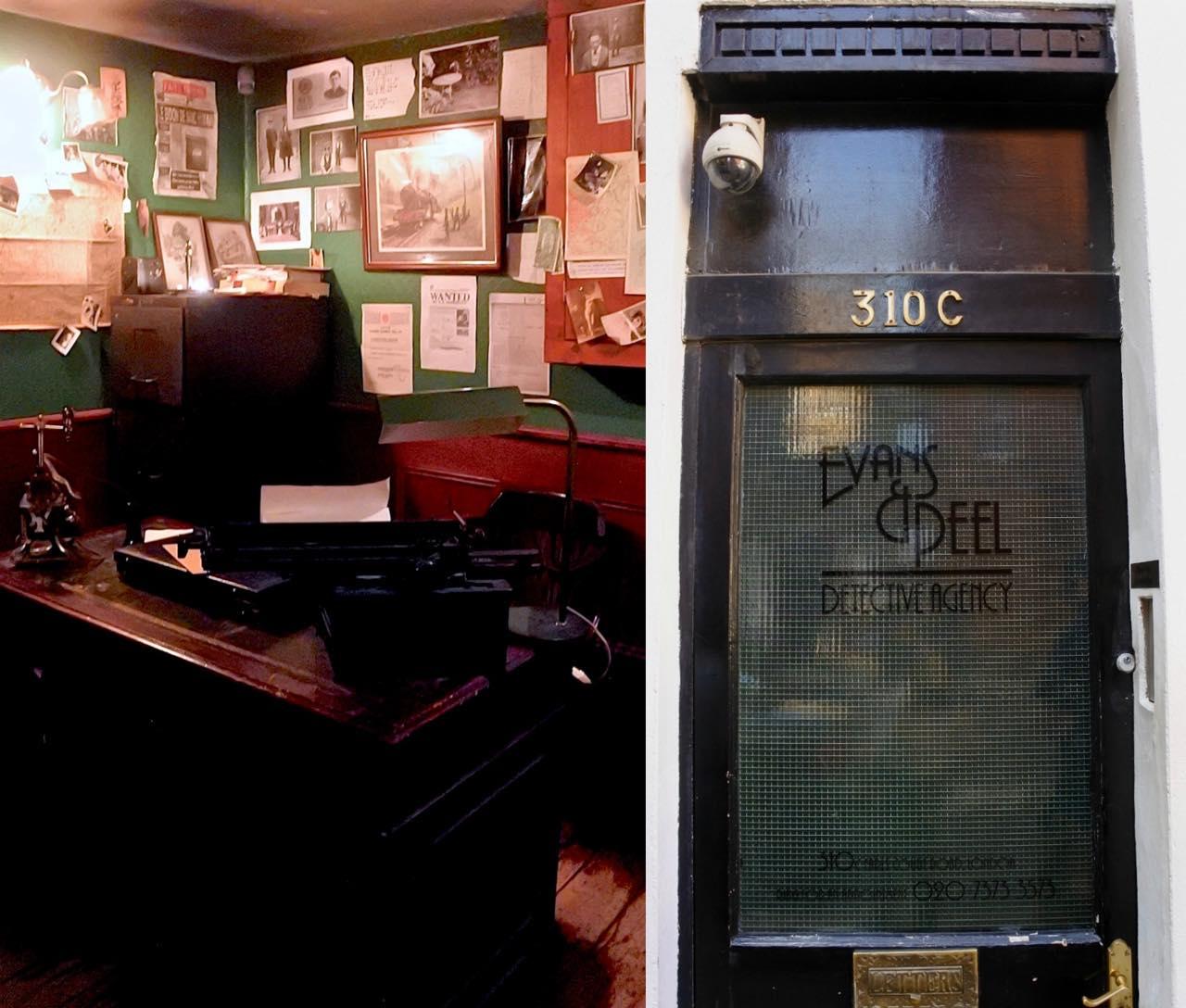 この扉を開けて下に降りていくと・・・そこには探偵事務所が!