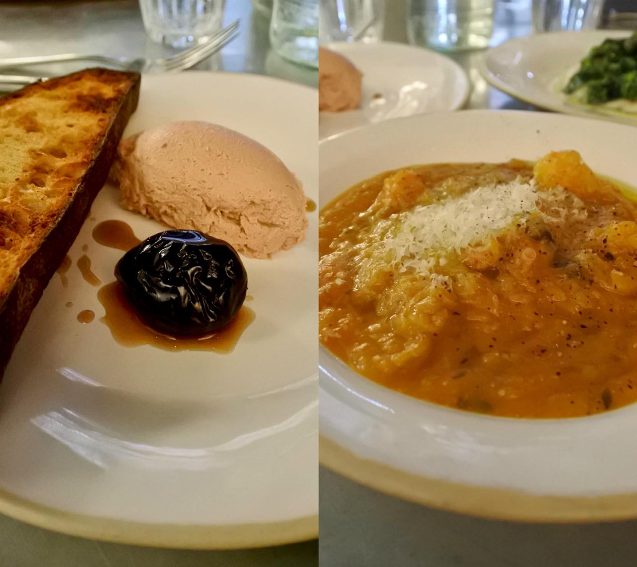 左は鴨レバーのパフェ+プルーンのピクルス。リッチなパフェにピクルスの酸味がマッチ。右は栗とカボチャとポテトのスープ。わざと固形を残した食べ応えあるスープだけど、乳製品を混ぜていないせいか、さっぱりといただける新鮮さあり。どちらもセット・メニューの前菜。