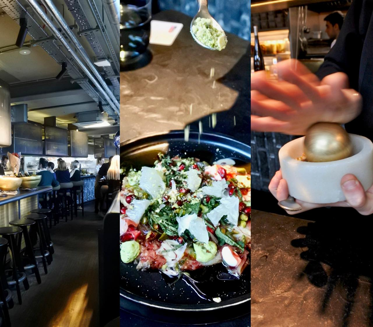 こちらはナスのお料理で、テーブルでスパイスやピスタチオをミルで挽いてサーブしてくれます。ゴールドのボールで挽く用具もトム・ディクソン! w
