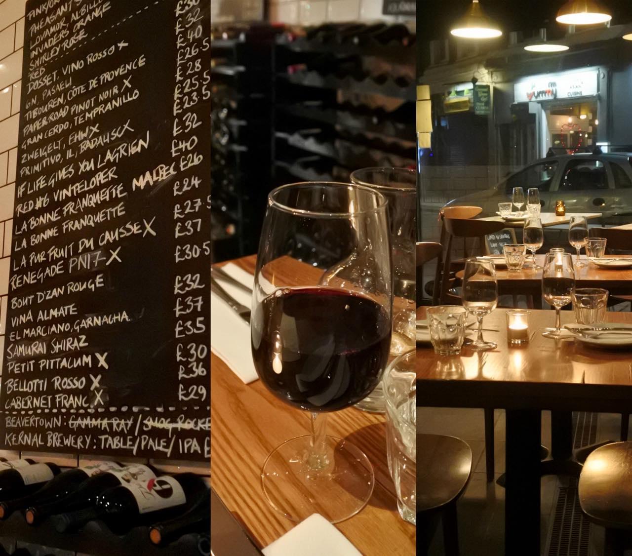グラス・ワインが一律5ポンドというのは良心的。テイスティングにぴったり♡