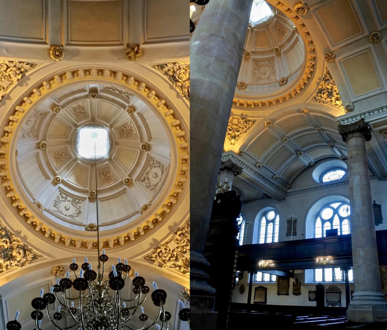 教会の内部♡  ロンドンのシティに建てられたクリストファー・レンによる教会、セント・・メアリー・アット・ヒルのバロック古典様式に倣った装飾なのだとか。