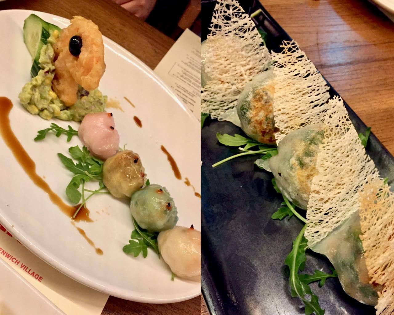 左:Pac Man Shrimp Dumplings。右はなんだったか忘れたー!