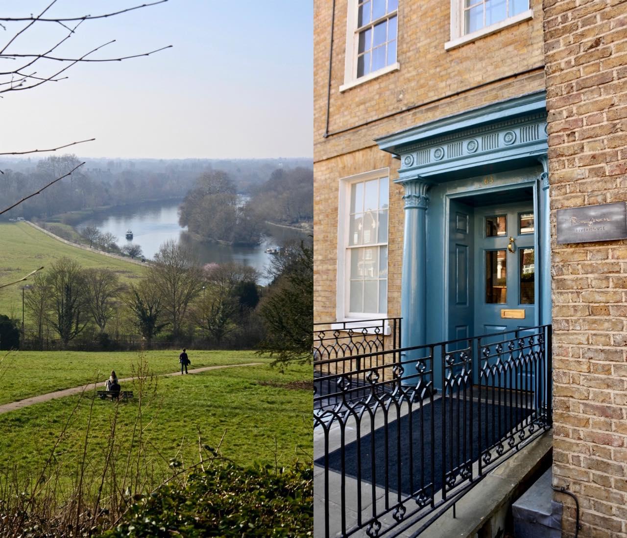 左は、ホテルのずっと先まで行った高台からの眺め♡ 右がビンガム・リバーハウスの入り口です。普通のお宅みたいでしょう?