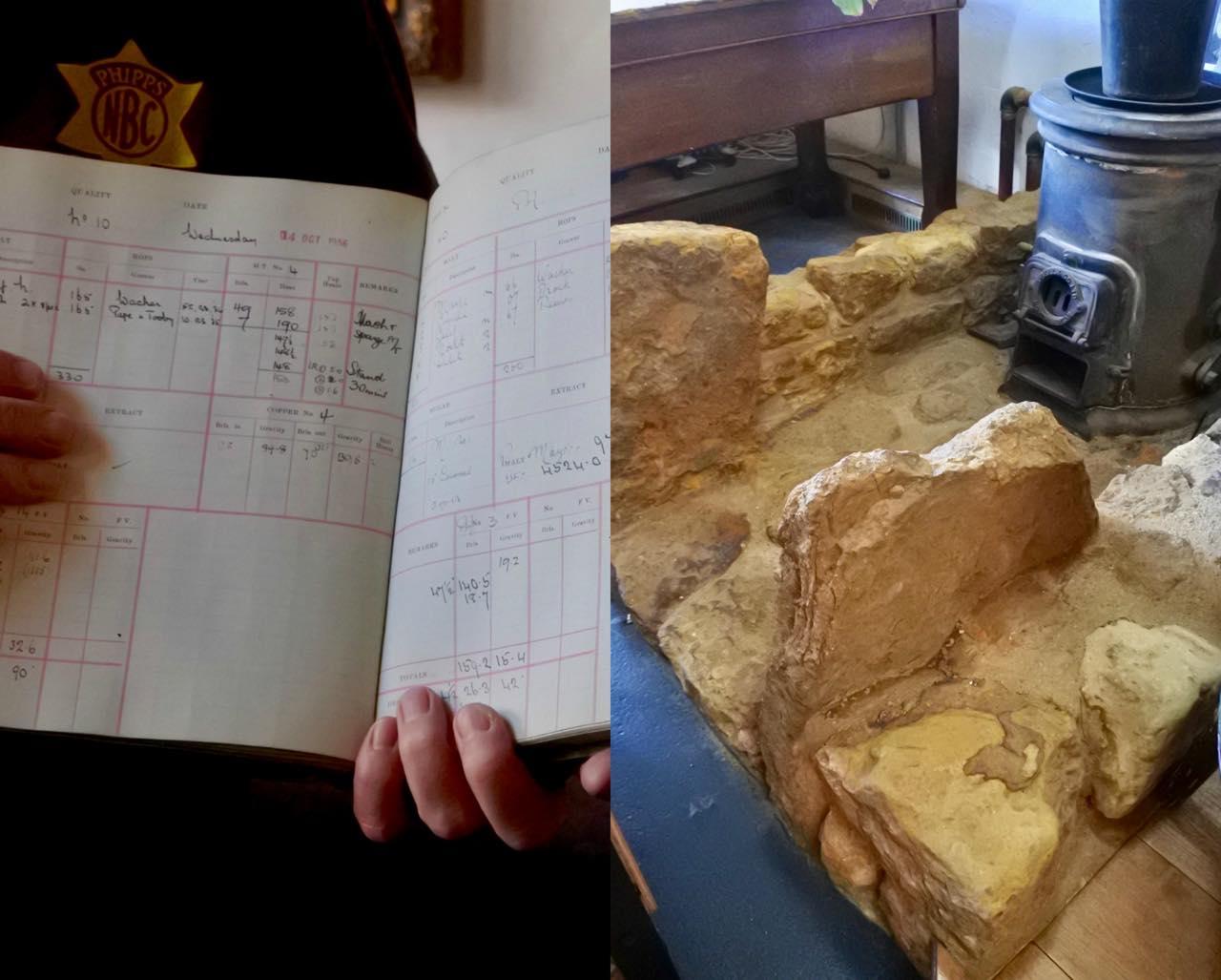 左が昔のビールのレシピなどが載った貴重な台帳。右はここから400メートル離れた場所にあるビルで発見された、13世紀のビール工場の土台。この考古学的な発見を救出し、パブ内に移築して保存しているのだとか。すごい!