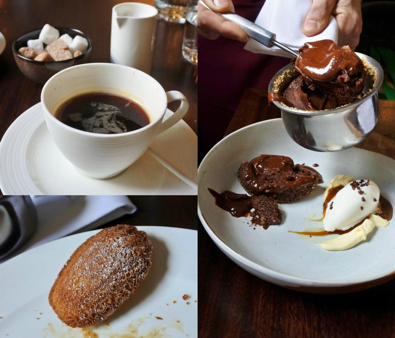 Chocolate cake, pecan praline, salted caramel sauce, mascarpone ice cream