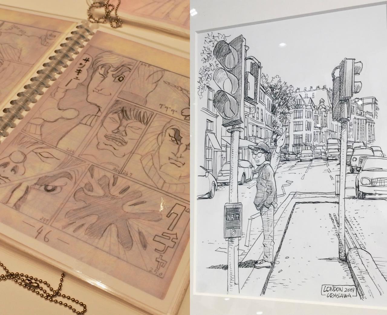 左は浦沢さんが小学校に上がる前に描いていた漫画(驚)。右はロンドンに来られたことを記念して40分くらいで描かれたというイラスト(凄)。