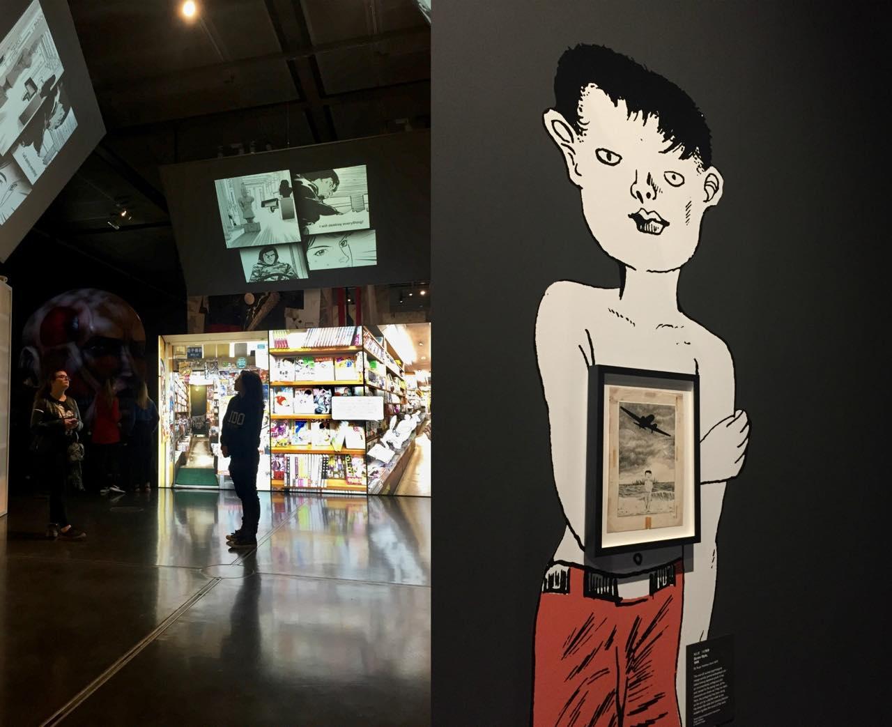 サザエさんもドラちゃんもアラレちゃんも両さんもラムちゃんもキャンディもナウシカも月影先生もまる子もツネコもいないよ〜。こうして挙げてみると今回の大英博物館漫画展が日本の漫画をどう紹介したかったのかがなんとなくわかってくるネ