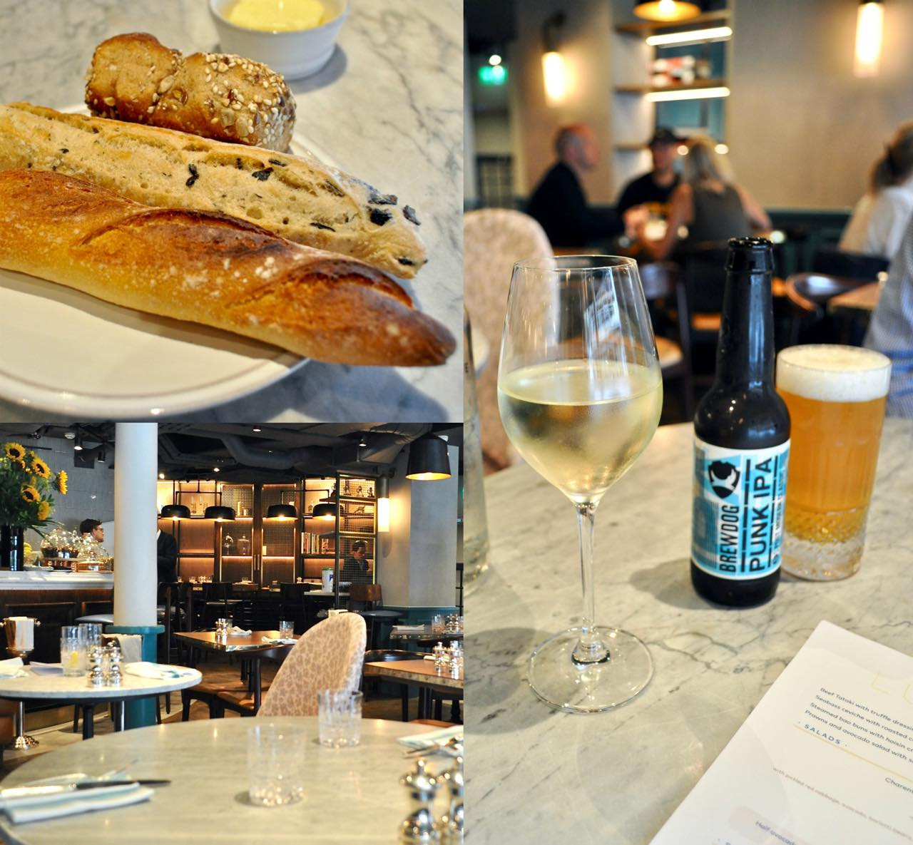 ミニ・バゲットやミニ・ロールが可愛いパンの盛り合わせ ^^  グラス・ワインは若干高めの値段設定。